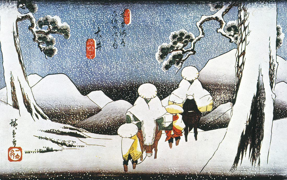 Travelers in the snow at Oi, from Sixty-nine Stations on the Kisokaidō, by Hiroshige, c. 1840.