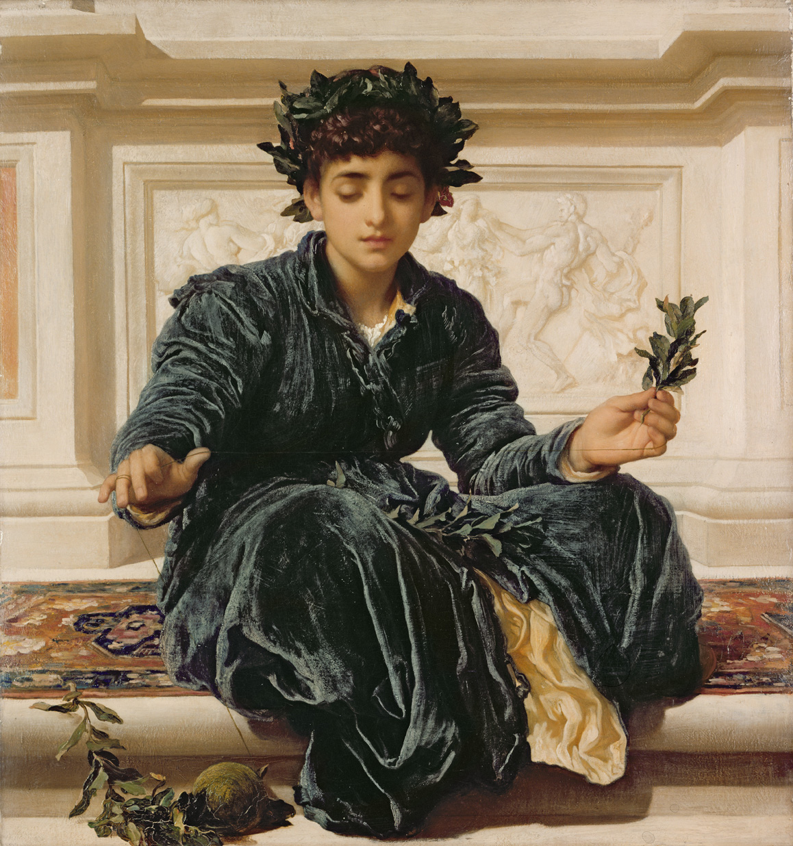 Weaving the Wreath, by Frederic Leighton, 1872. Sudley House, Aigburth, Liverpool, England.