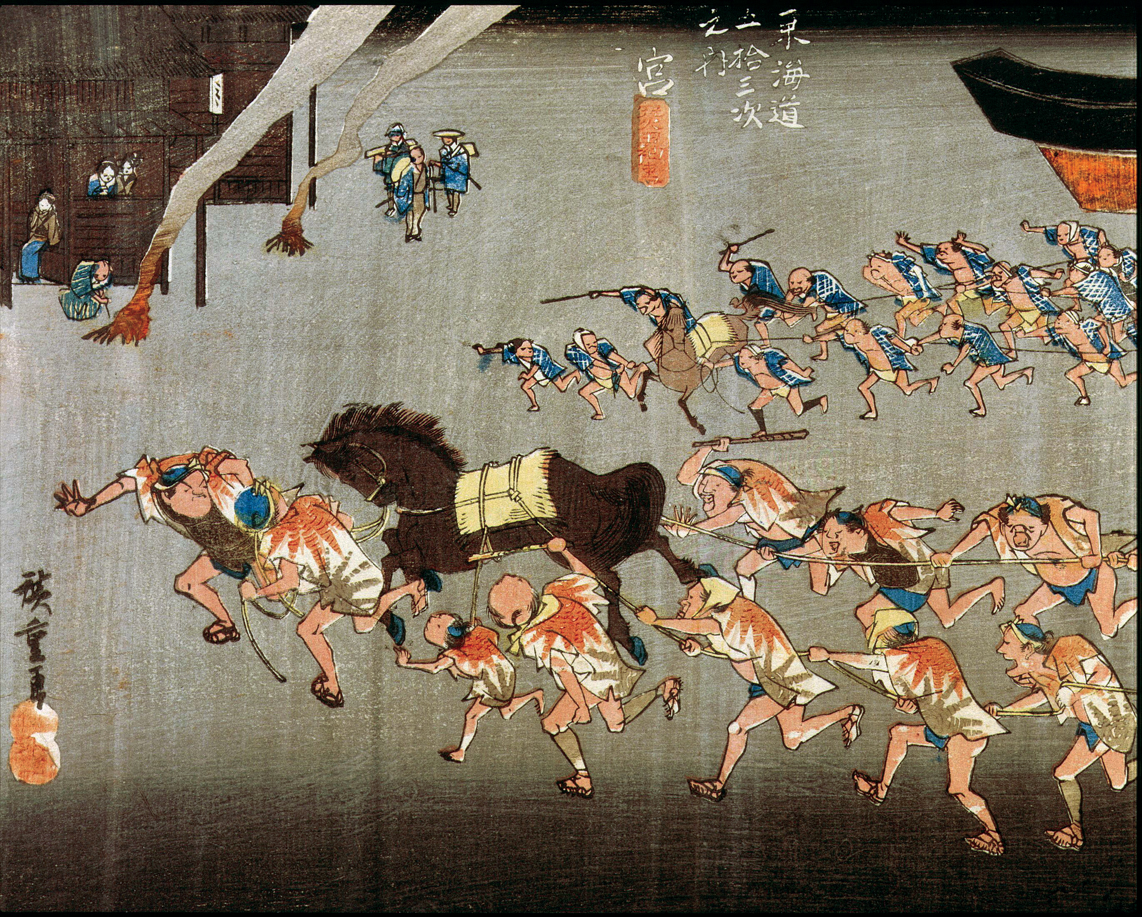 Horse race at the Atsuta shrine, Japan, from Fifty-three Stations of the Tokaido (detail), by Ando Hiroshige, c. 1834. Museum of Fine Arts, Boston.