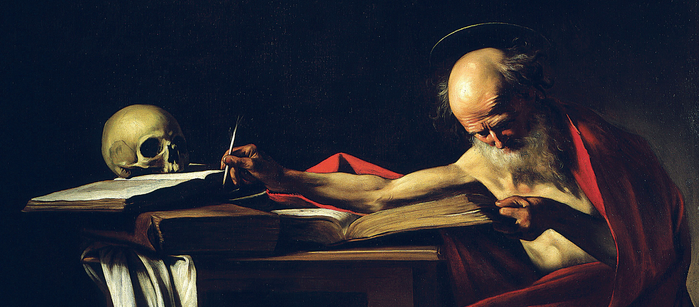 Saint Jerome Writing, by Michelangelo Caravaggio, 1606. Galleria Borghese, Rome, Italy.