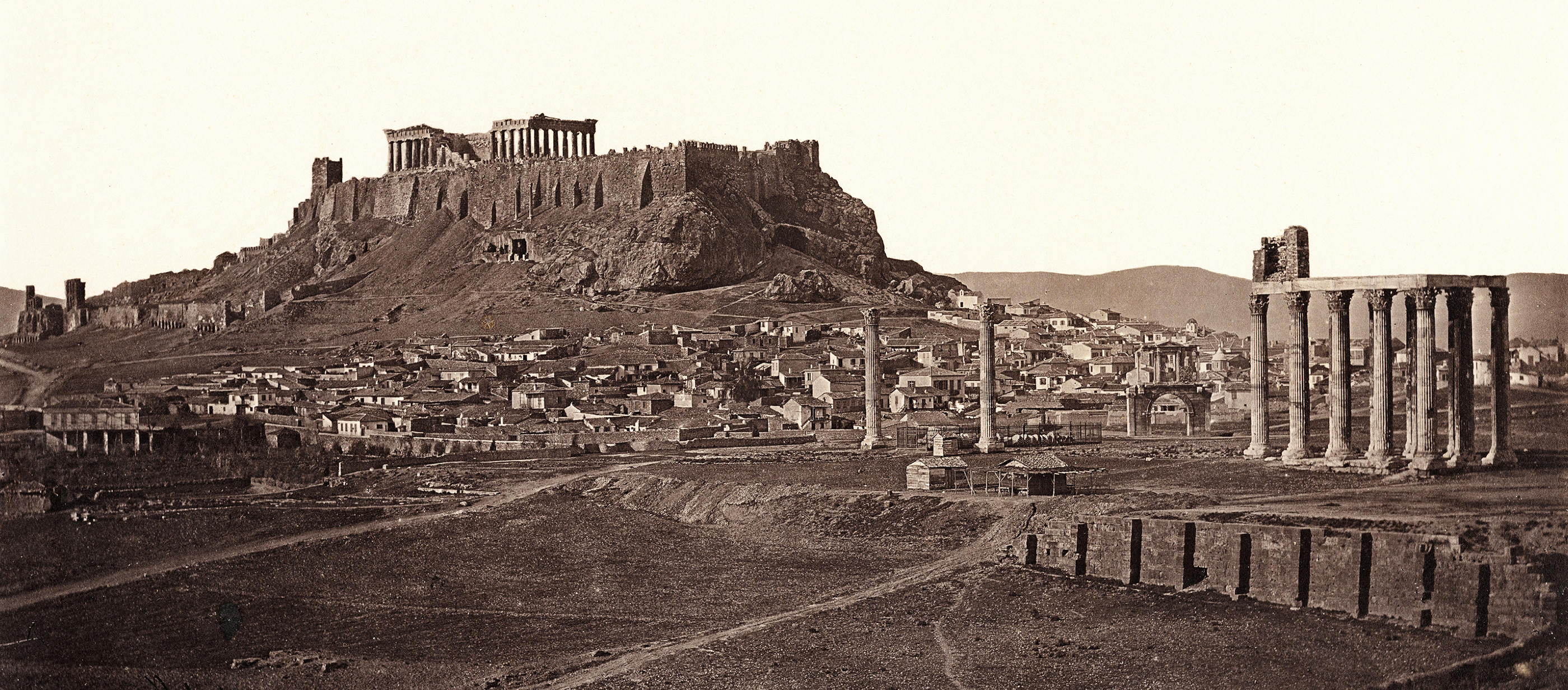 Black and white photograph of the Acropolis in Athens.