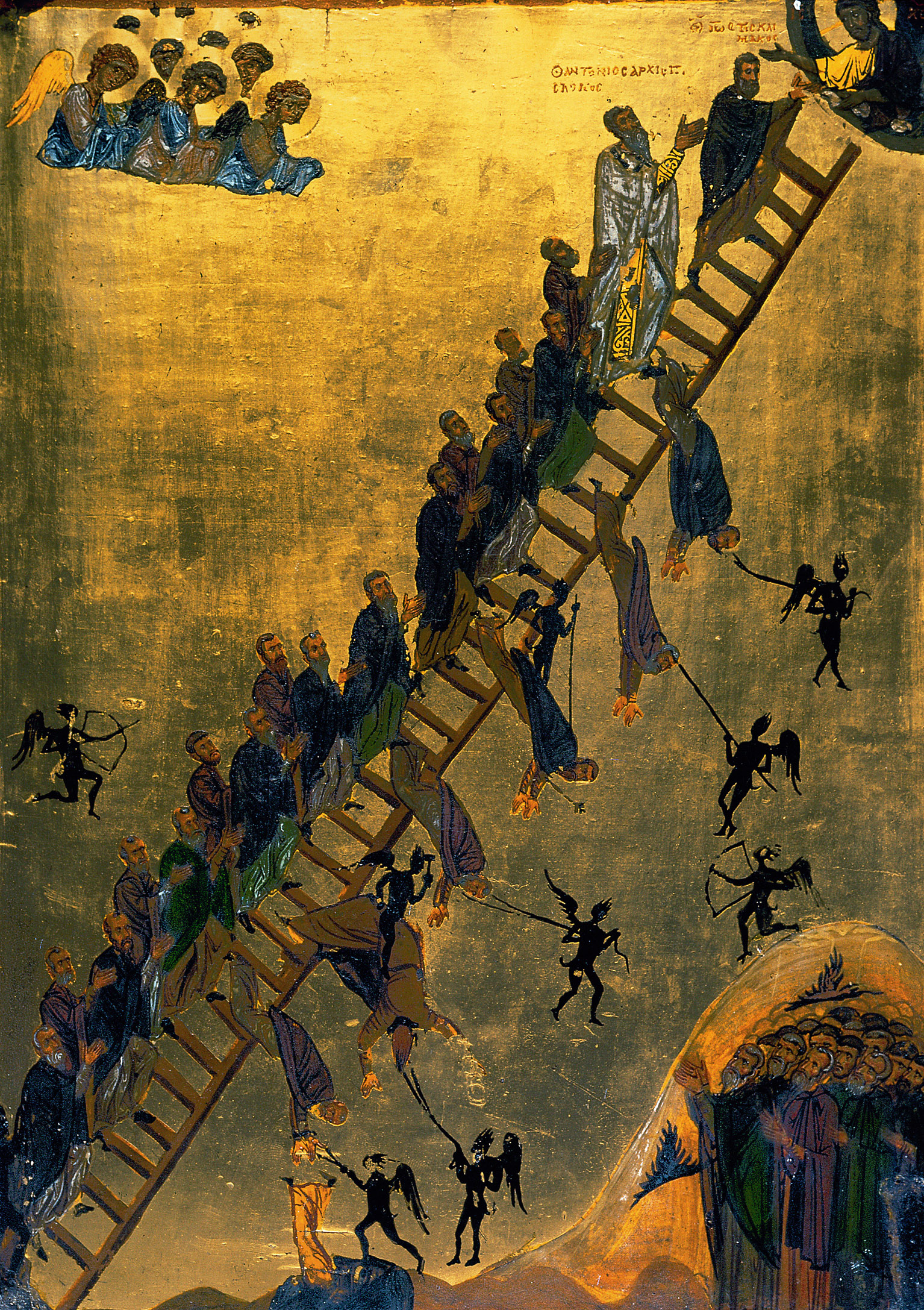 Monks climbing to heaven or being pulled to hell, twelfth-century illustration of The Ladder of Divine Ascent, a seventh-century guide to ascetic and mystical living, by St. John Climacus. Saint Catherine's Monastery, Mount Sinai, Egypt.
