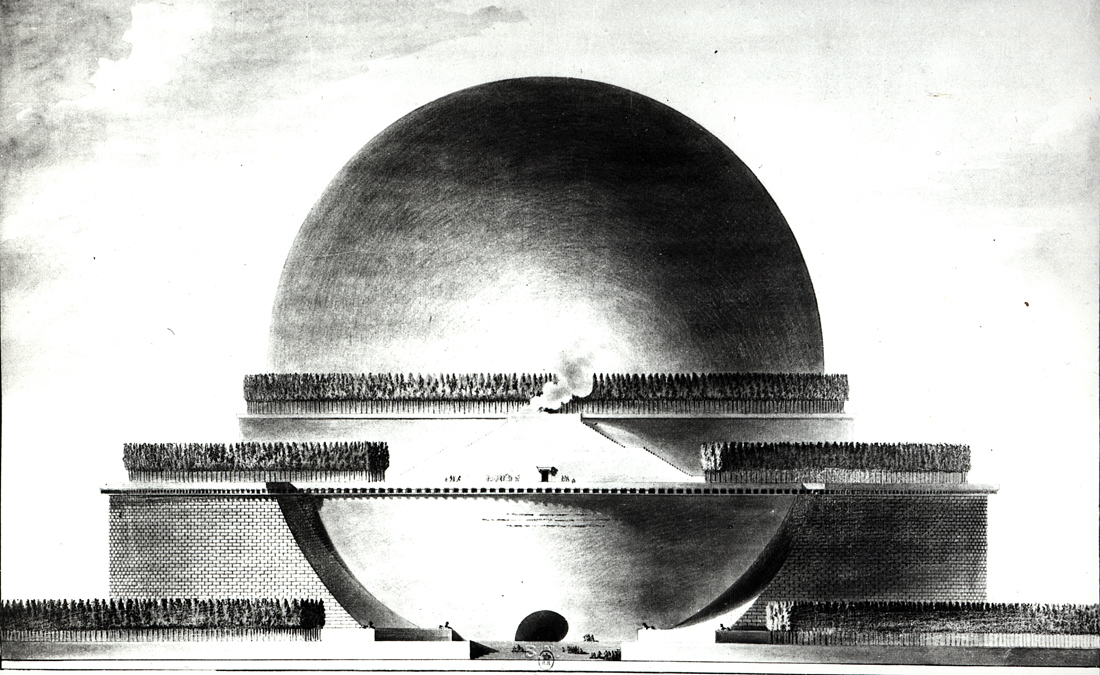 Design for Isaac Newton's cenotaph, by Étienne-Louis Boullée, 1784.