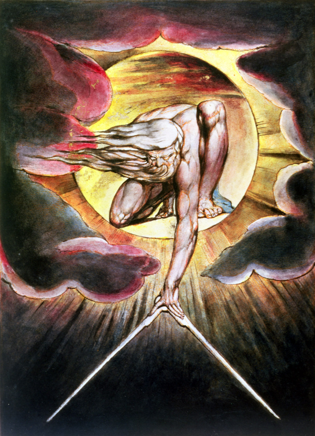 The Ancient of Days, frontispiece for Europe a Prophecy, both by William Blake, 1794. The Fitzwilliam Museum, Cambridge, United Kingdom.