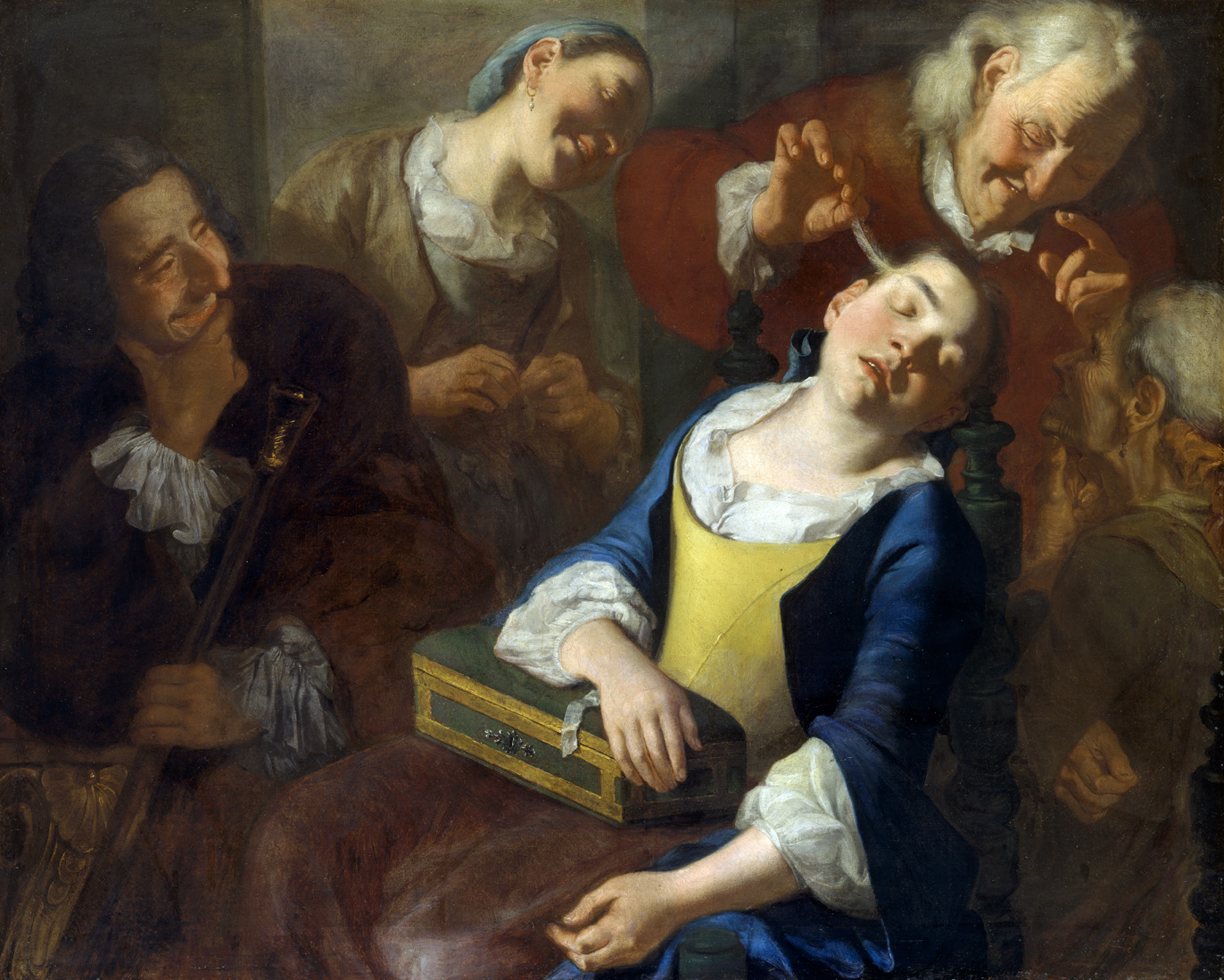 Teasing a Sleeping Girl, by Gaspare Traversi, c. 1760