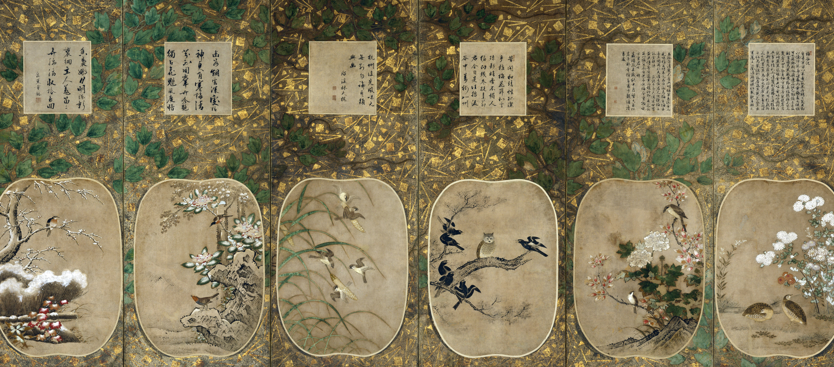 Six-panel folding screen with birds and flowers, accompanied by Chinese calligraphy, representing the months of the year,