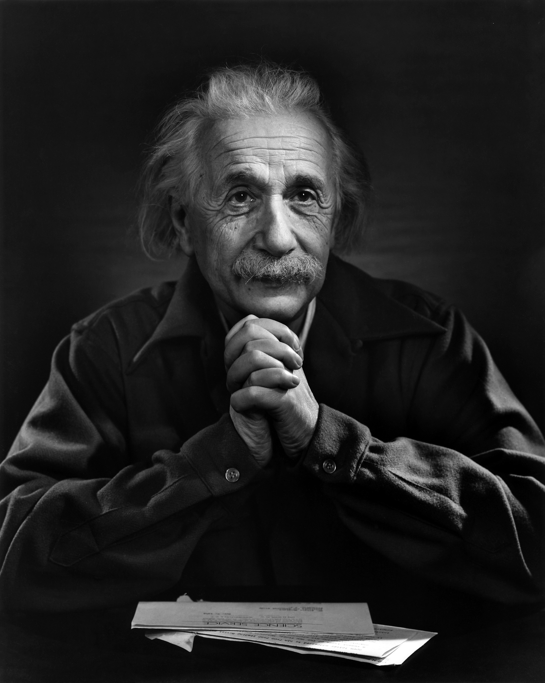 Black and white photograph of Albert Einstein.