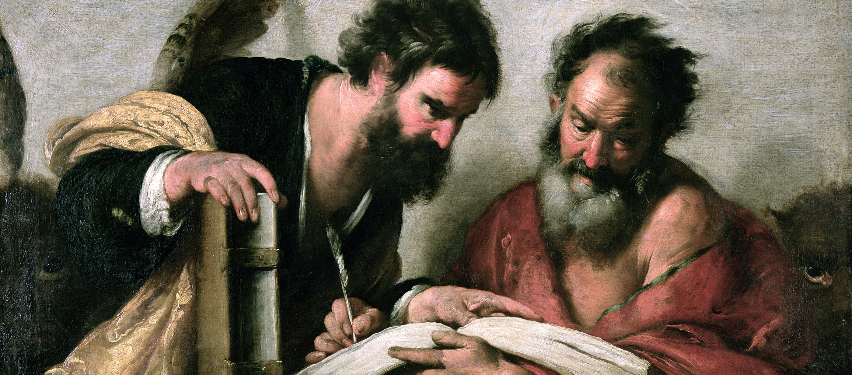 St. Mark and St. John in Consultation on their Writings, by Bernardo Strozzi, c. 1610.
