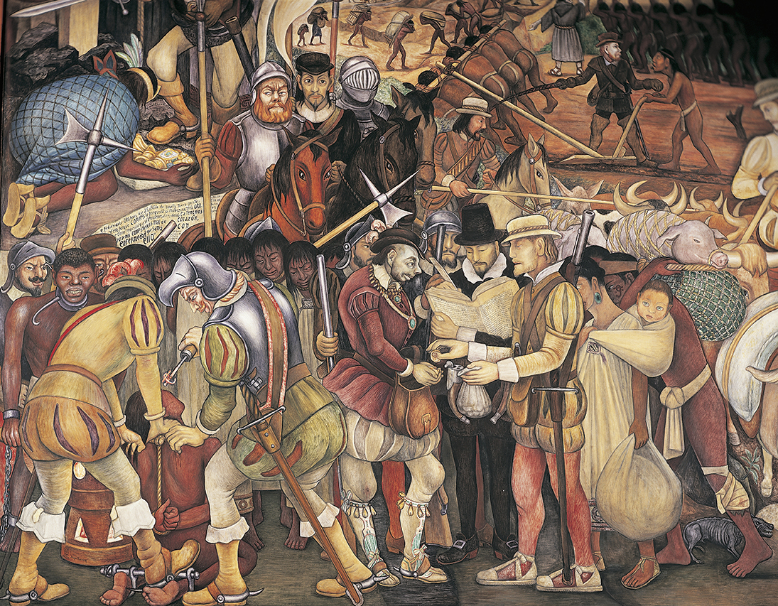 Disembarkation of the Spanish At Veracruz (detail), by Diego Rivera, 1951