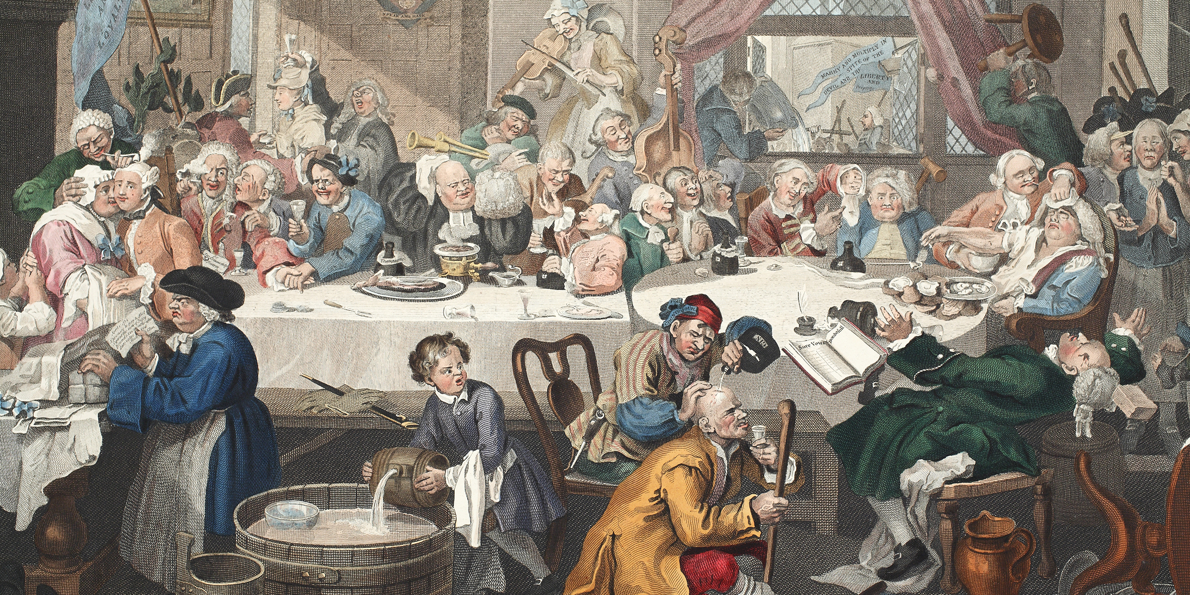 An Election Entertainment (detail), engraving by Thomas Cook after William Hogarth, 1812.