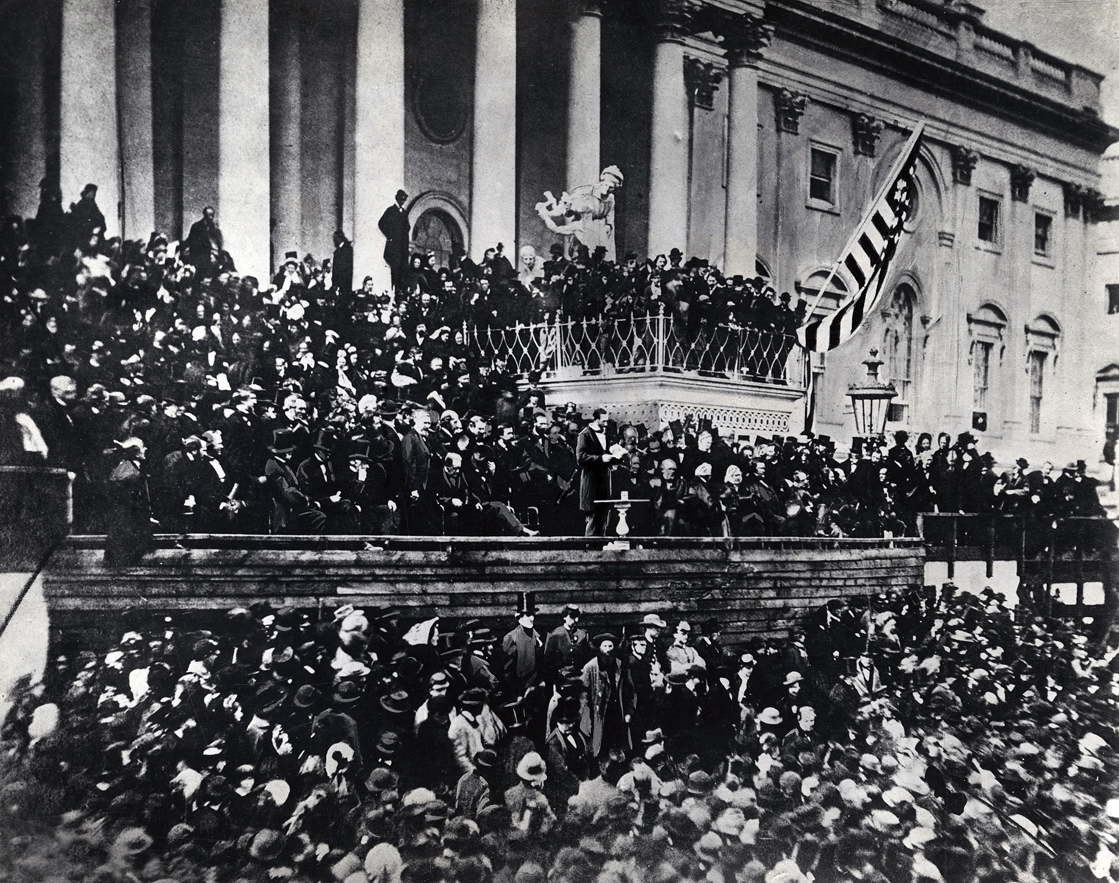Abraham Lincoln delivering his second inaugural address, 1865. Photograph by Alexander Gardner.