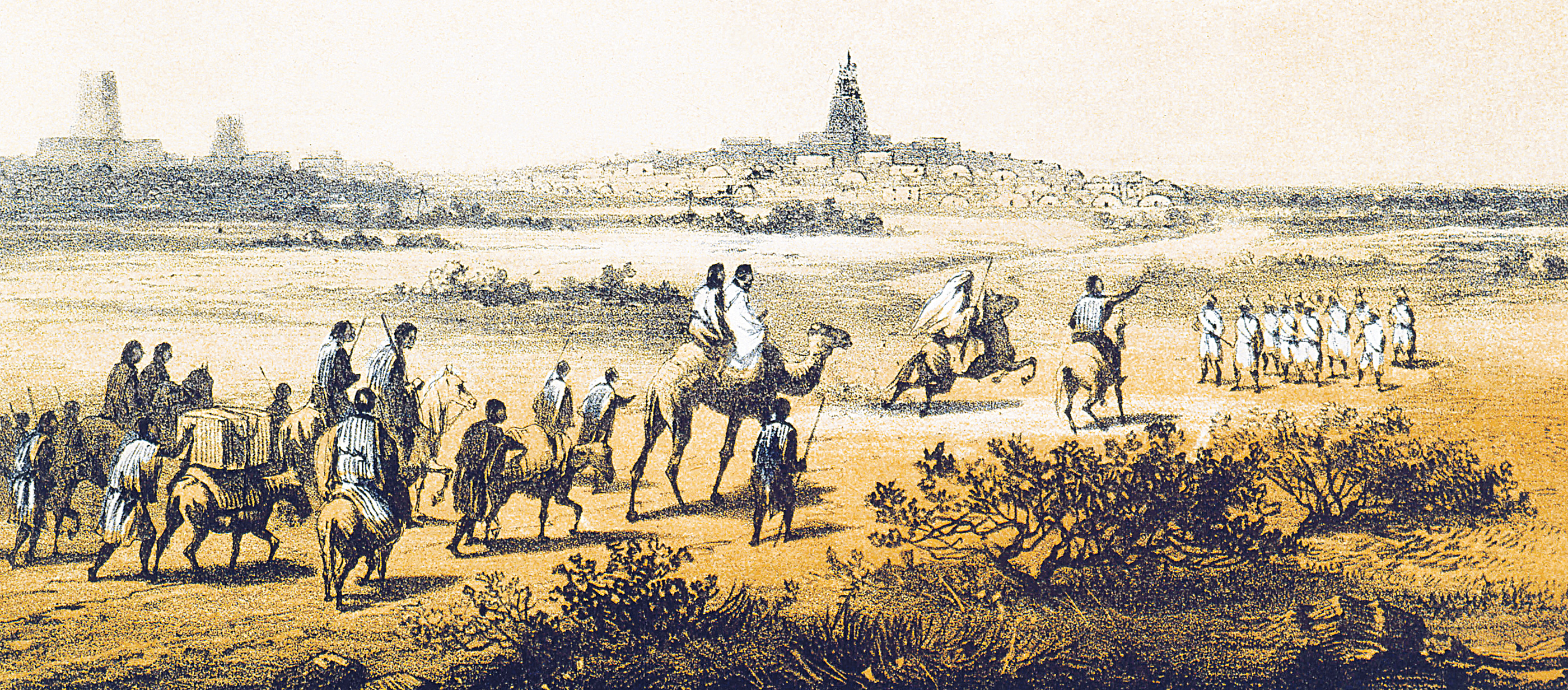 Arrival at Timbuctoo, Mali, illustration from Heinrich Barth's Travels and Discoveries in North and Central Africa, c. 1857.