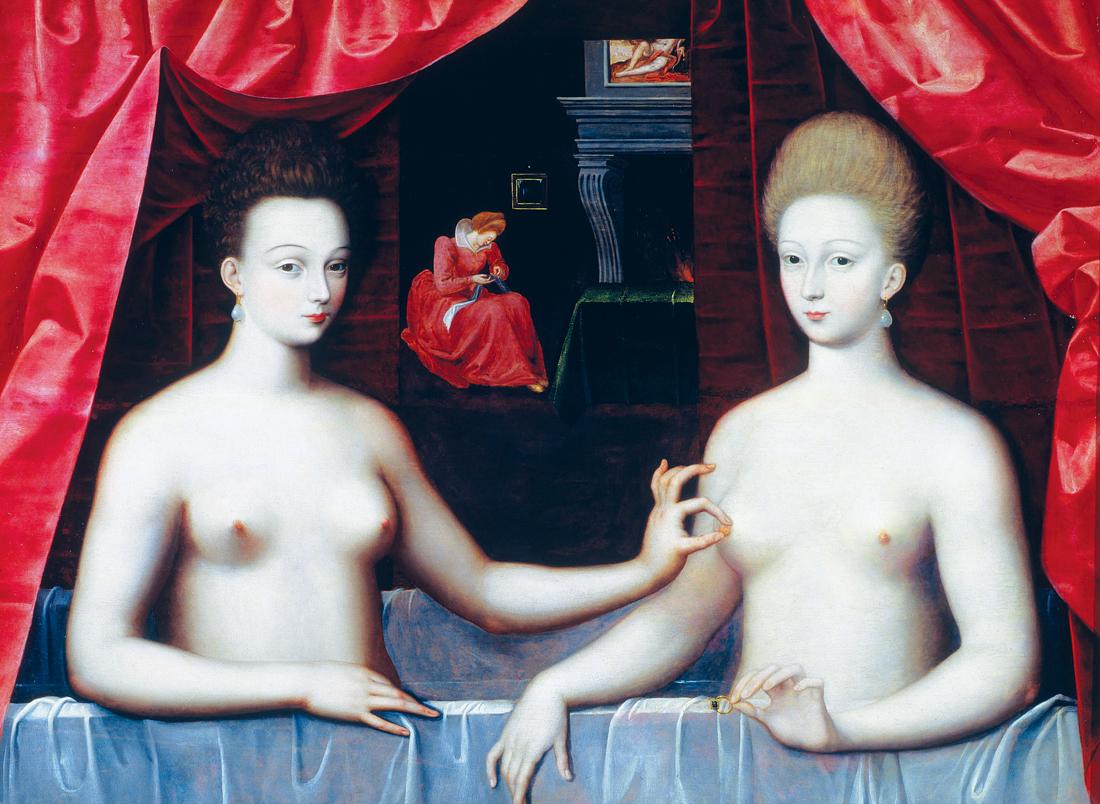 Gabrielle D'Estrées and One of Her Sisters, c. 1594. Louvre Museum, Paris, France.