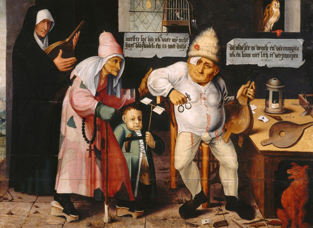 Man repairing bellows, by Hieronymus Bosch, c. 1505. Musée des Beaux-Arts Tournai, Belgium.