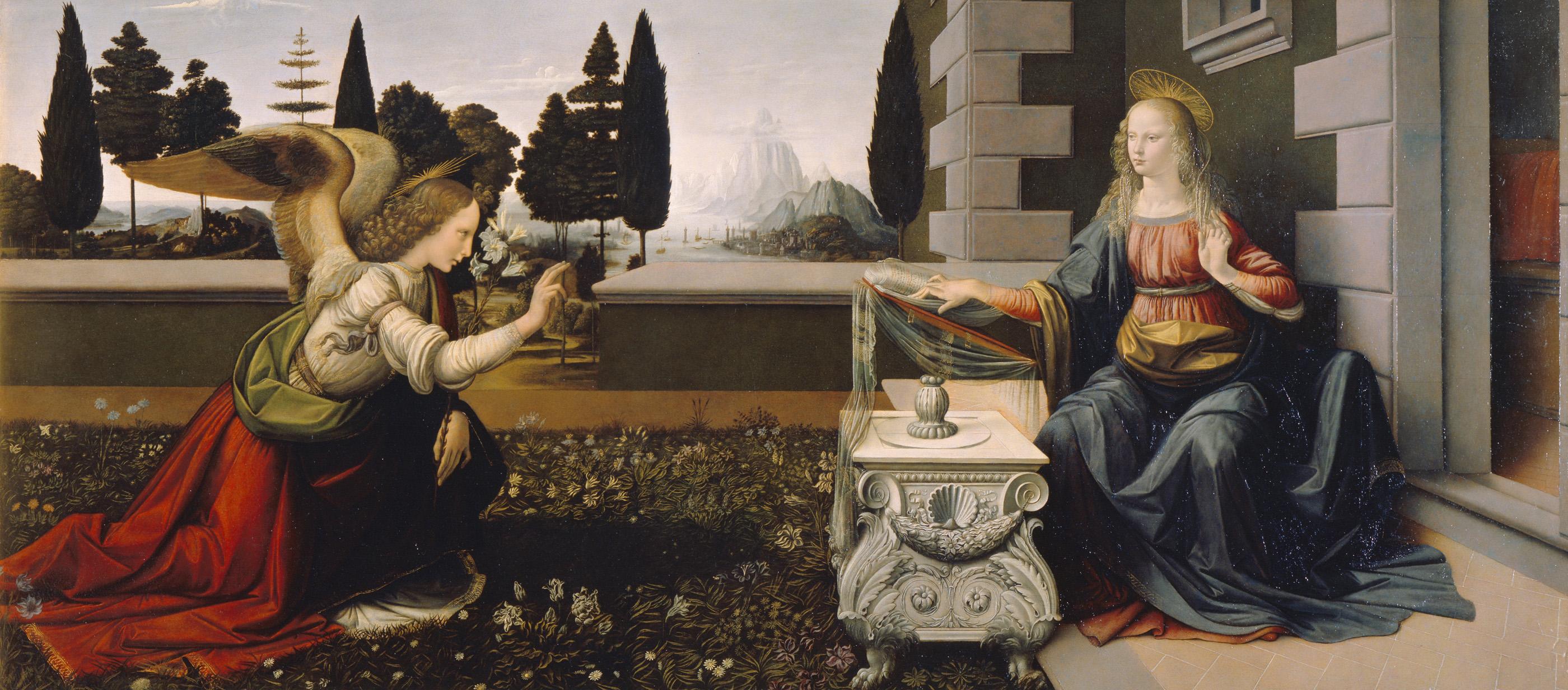 Annunciation, by Leonardo da Vinci, c. 1472–75. Uffizi Gallery, Florence, Italy.