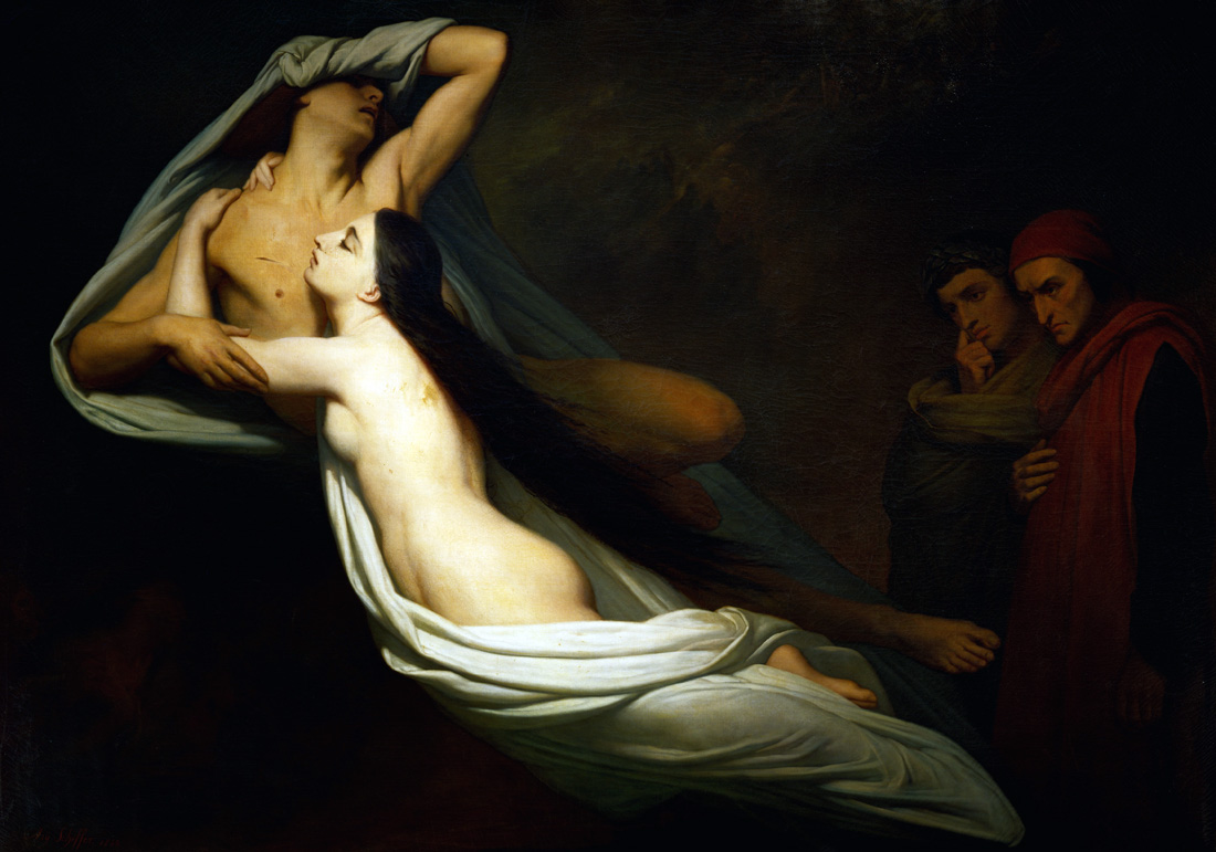 The Shades of Francesca da Rimini and Paolo Malatesta Appear to Dante and Virgil, by Ary Scheffer, 1855. Louvre Museum, Paris, France.