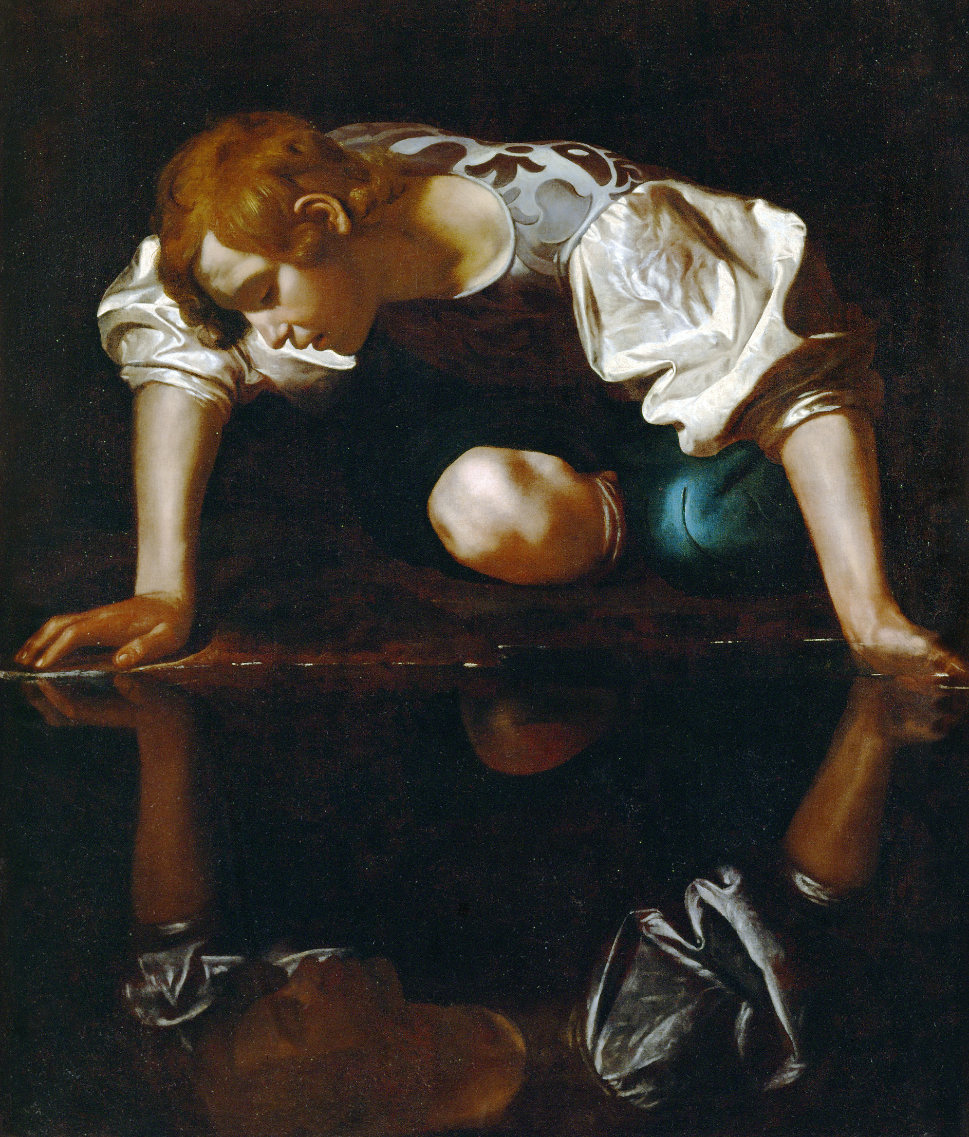 Narcissus, by Michelangelo Merisi da Caravaggio, c. 1597. National Gallery of Ancient Art, Rome.
