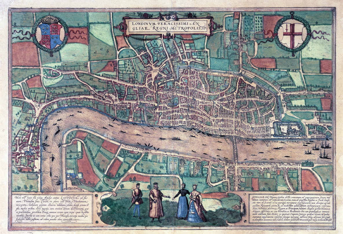 Map of London, from Cities of the World, edited by Georg Braun, 1572.