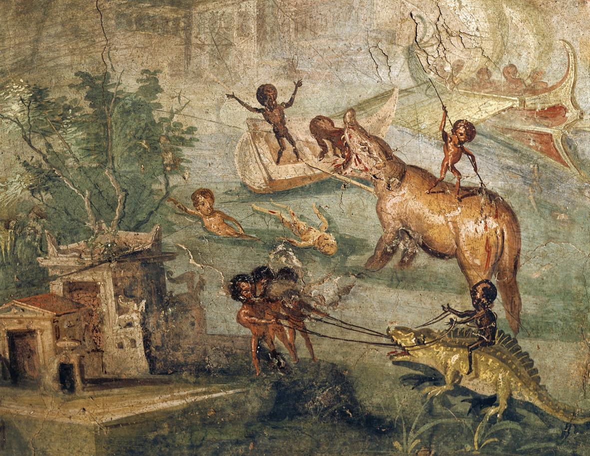 Pygmies hunting a hippopotamus and crocodile along the Nile River, fresco, Pompeii, c. 70.