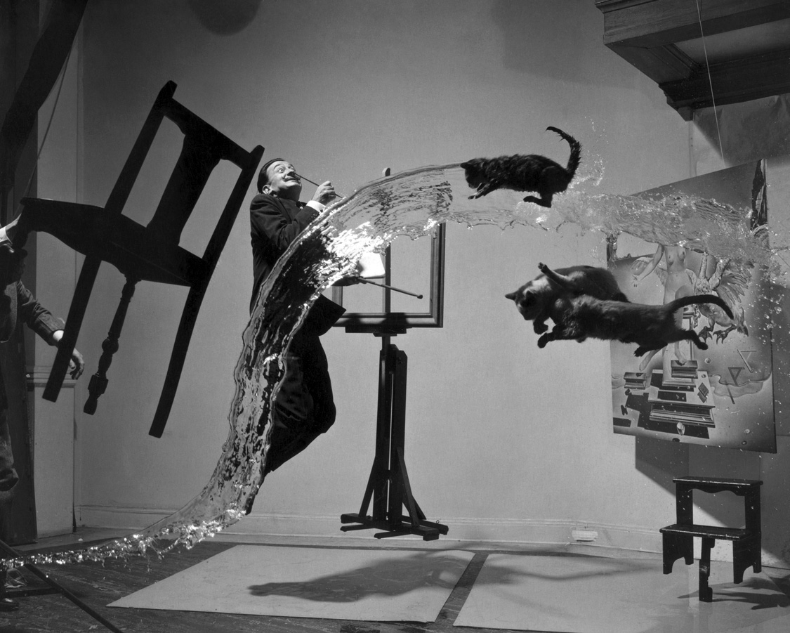"""""""Dalí Atomicus,"""" 1948. Photograph by Phillipe Halsman. © The Granger Collection, NY."""