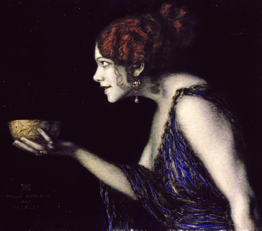 Tilla Durieux as Circe, by Franz von Stuck, 1913. Alte Nationalgalerie Berlin.
