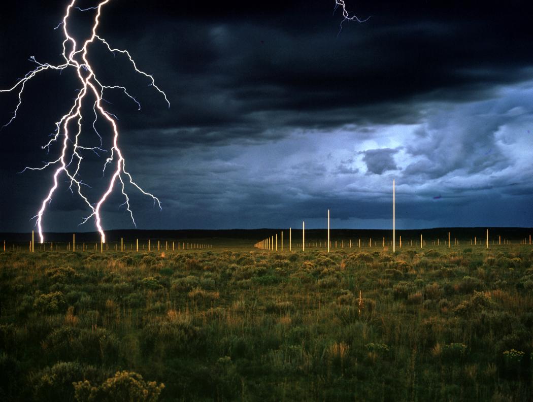 Walter De Maria, The Lightning Field, 1977. Long-term installation in Western New Mexico. Courtesy Dia Art Foundation, New York. Photo: John Cliett.