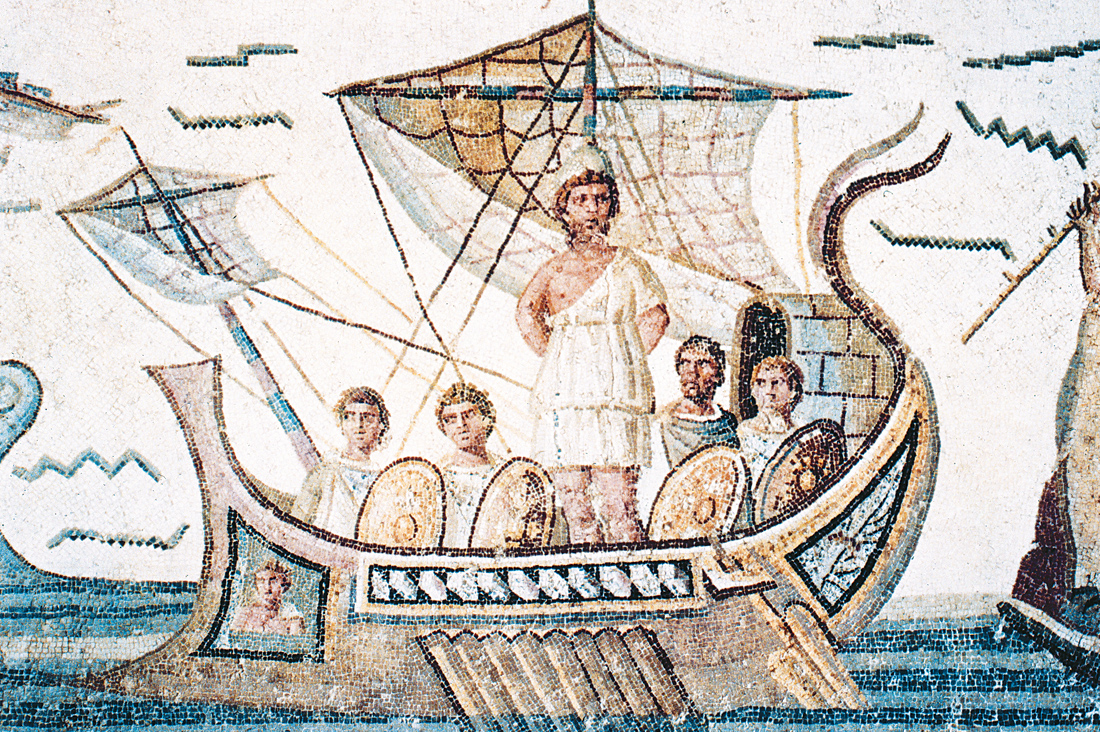 Odysseus and his companions passing the Isle of the Sirens, Roman mosaic, third century. Bardo Museum, Tunis, Tunisia.