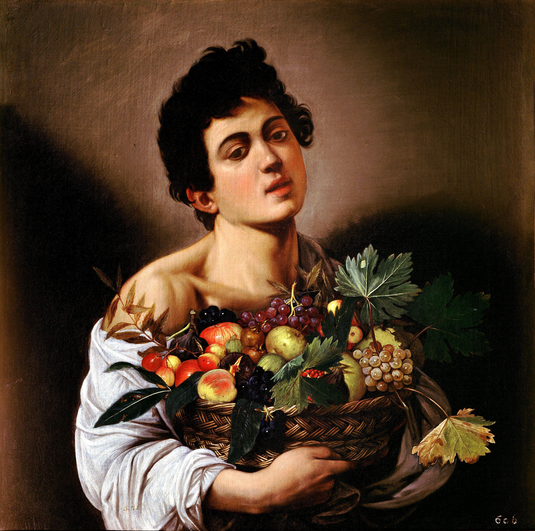 Young Man with Basket of Fruit, by Caravaggio, c. 1593–1594. Galleria Borghese, Rome, Italy.