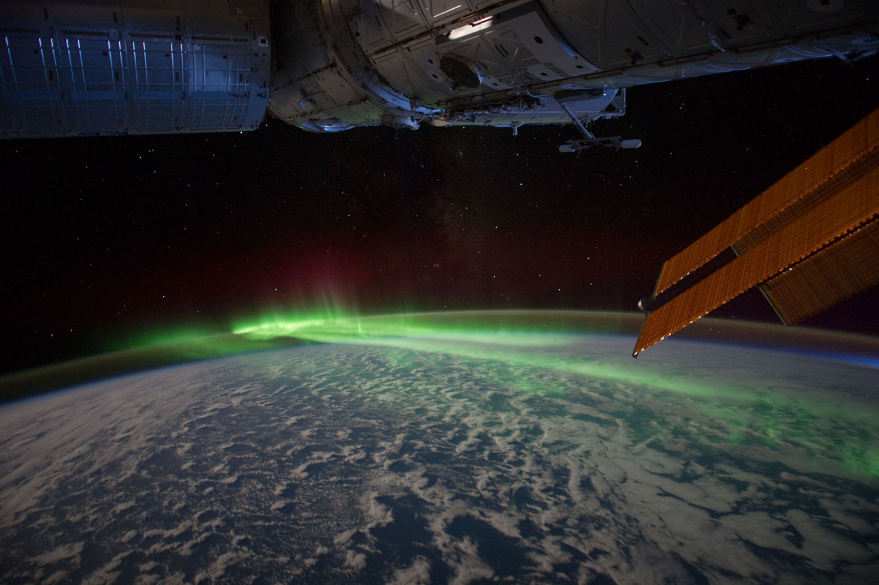 Aurora australis, viewed from 215 nautical miles above the Pacific Ocean, March 2012. Photograph by an American astronaut, taken from the International Space Station. Courtesy of NASA.