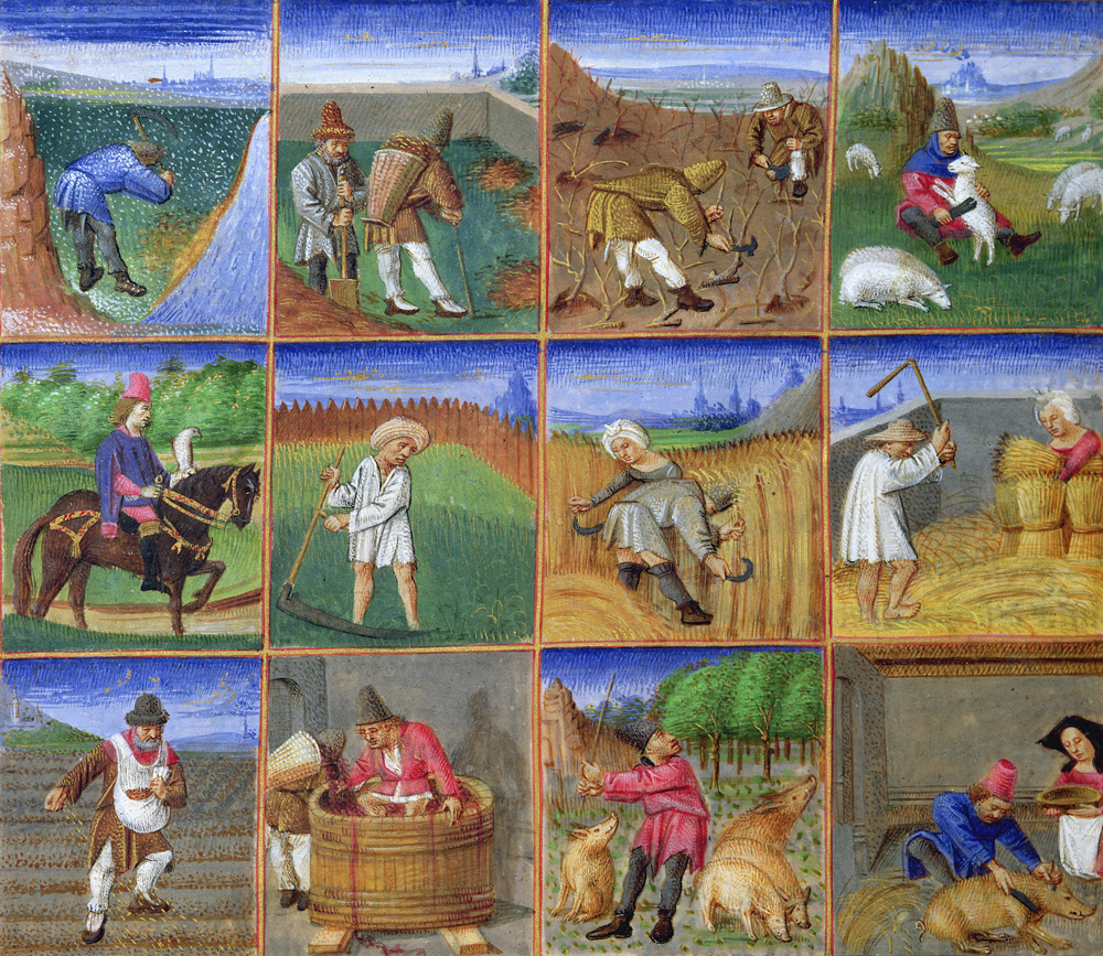Medieval illuminated manuscript showing peasants working in a field.