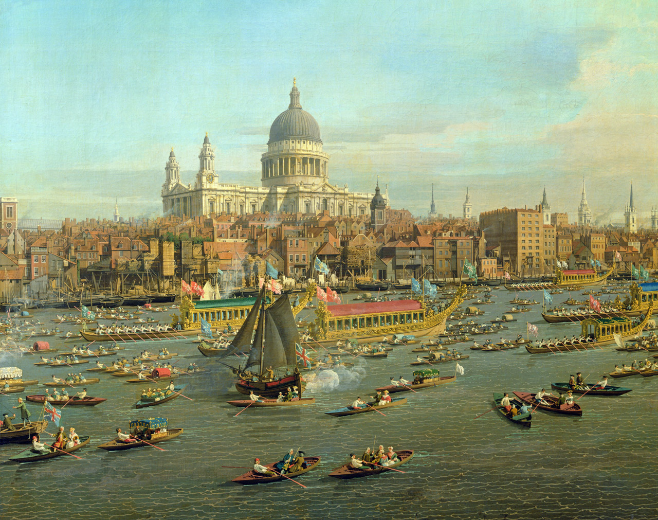 London: The Thames on Lord Mayor's Day (detail), by Antonio Canaletto, c. 1750..