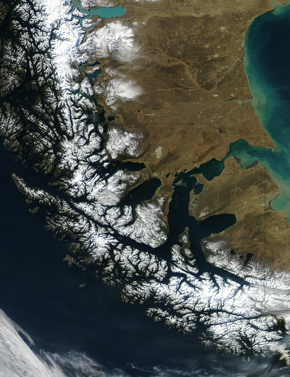 Strait of Magellan from space, 2003.
