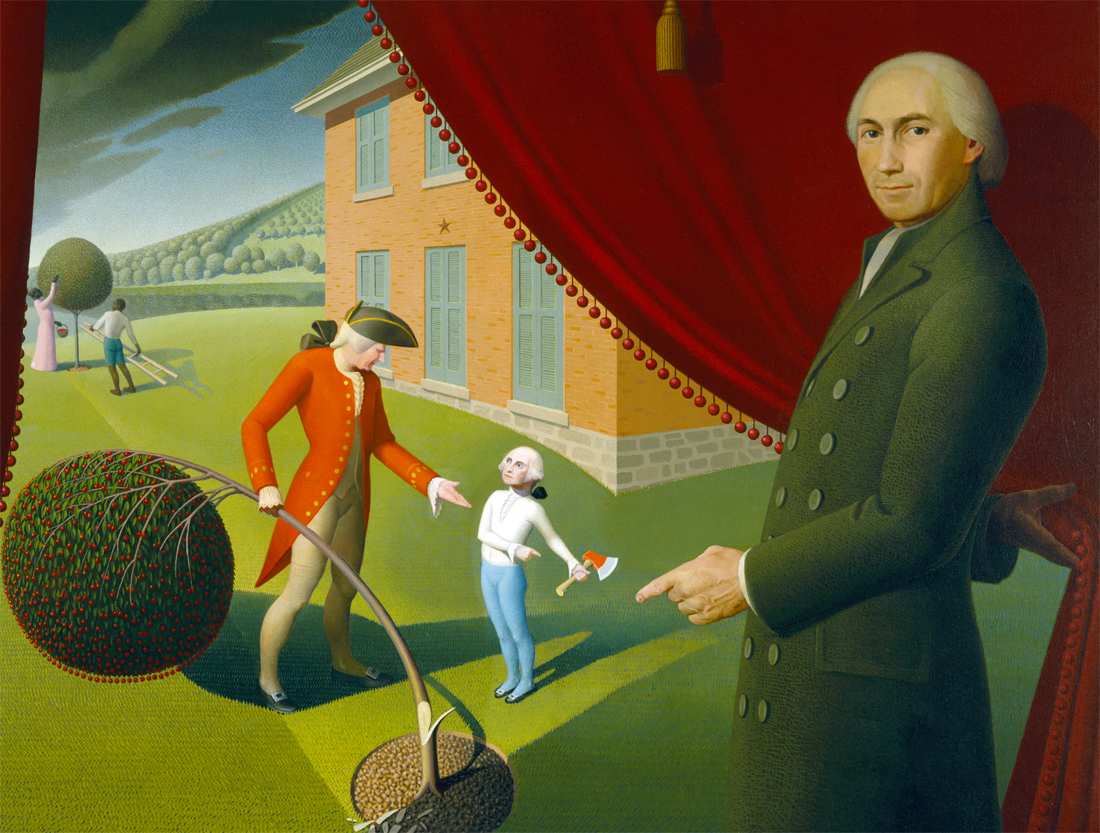 Parson Weems' Fable, by Grant Wood, 1939.