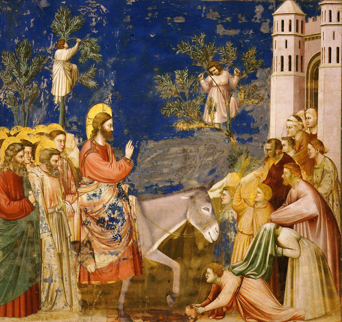 Jesus entering Jerusalem, Scrovegni Chapel (detail), Padua, Italy, by Giotto di Bondone, c. 1307.