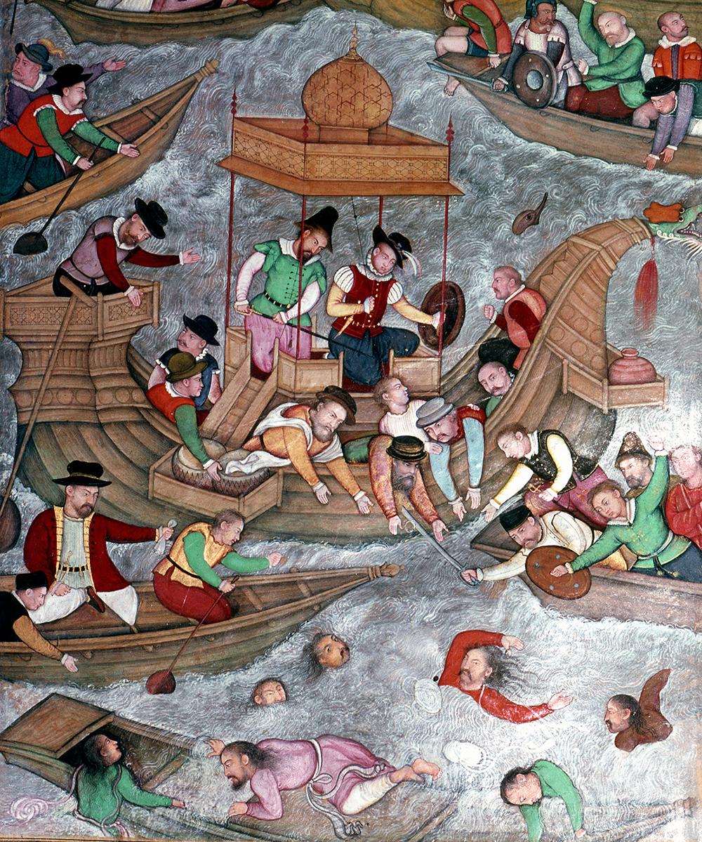 Portuguese mercenaries drowning Sultan Bahadur and Rumi Khan,