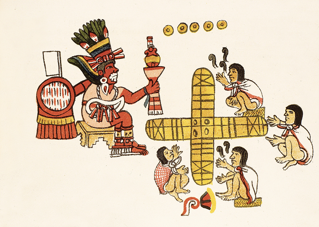 Playing the board game patolli, from the Aztec Magliabecchiano Codex, c. 1566.