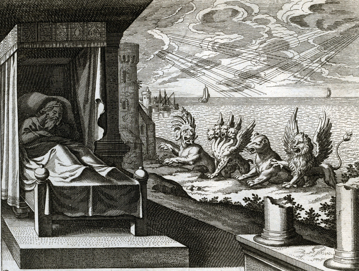 Daniel's Vision of the Four Beasts, engraving from Merian's Illustrated Bible, c. 1627.