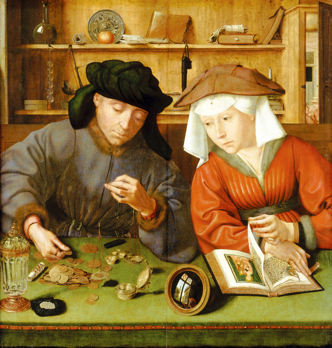 The Money-lender and His Wife, by Quentin Metsys, 1514. Louvre Museum, Paris, France.