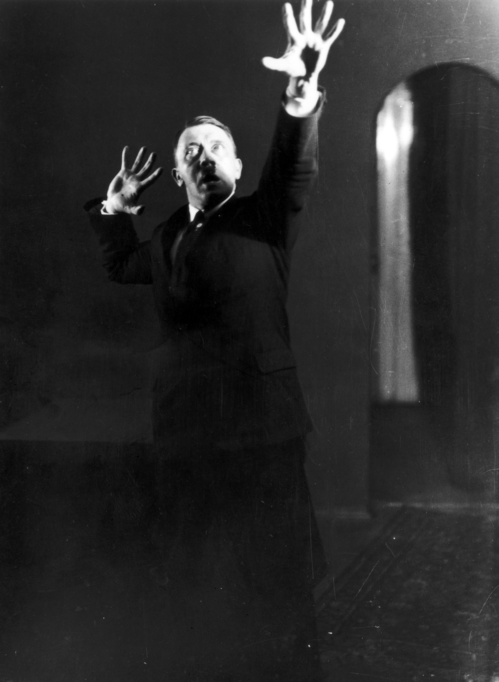 Adolf Hitler practices a speech, 1925. Photography by Heinrich Hoffmann. German Federal Archives, Koblenz, Germany.