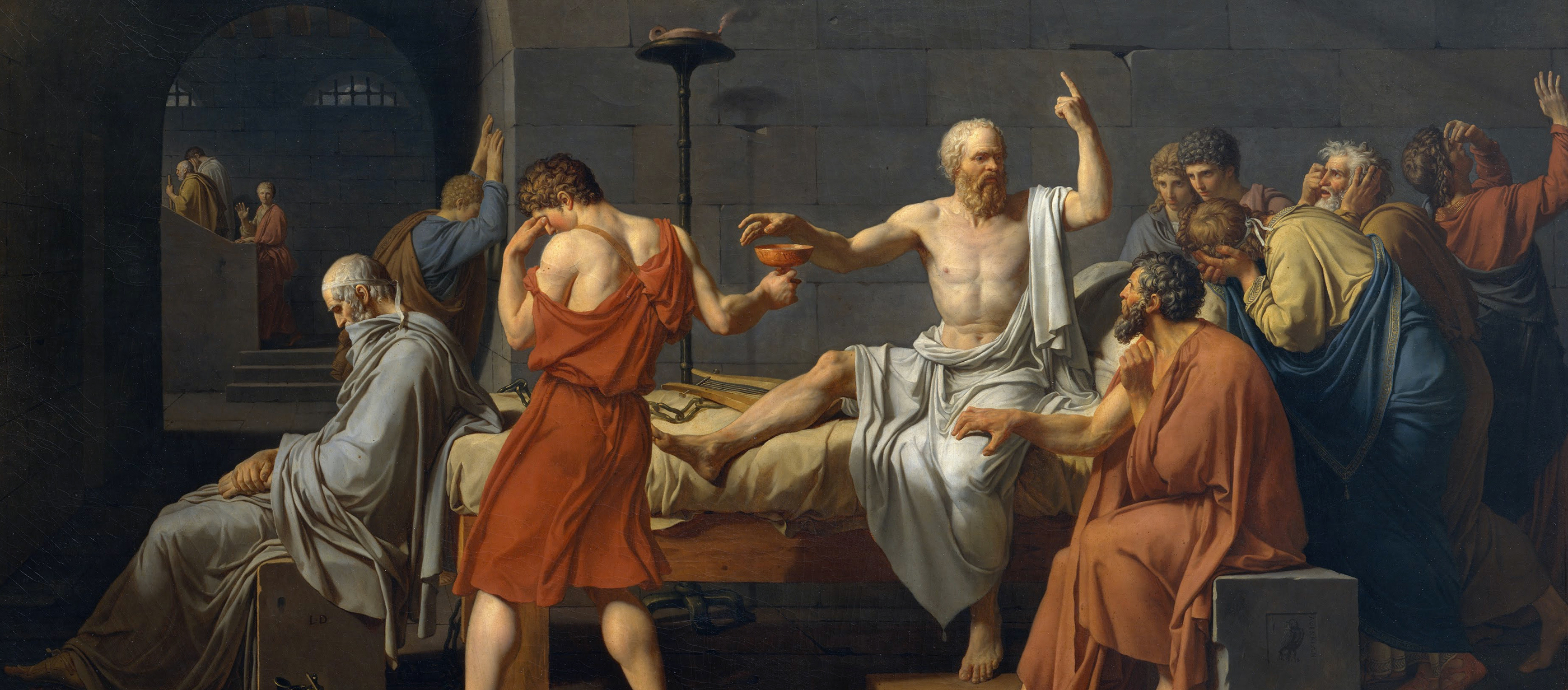 The Death of Socrates, by Jacques-Louis David, 1787.