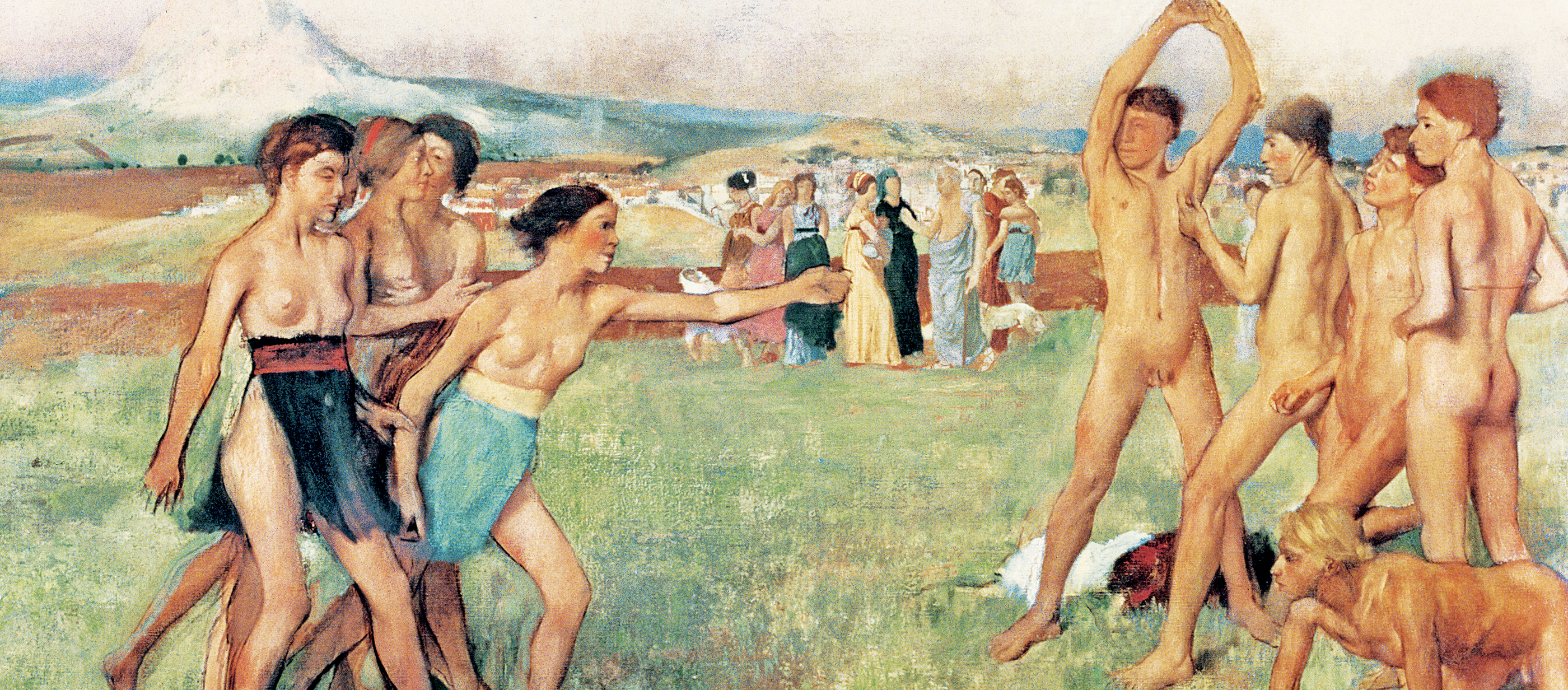 Edgar Degas painting showing young Spartans exercising.