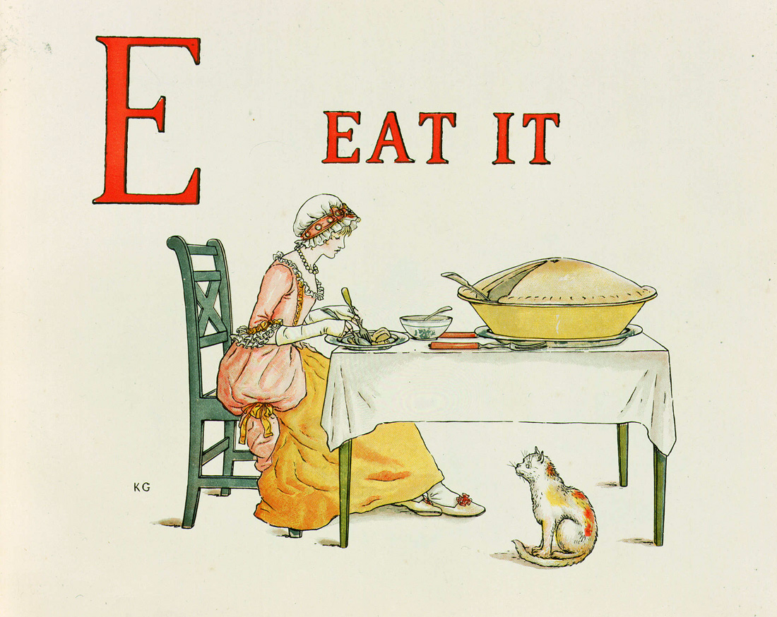 Illustration from Kate Greenaway's Alphabet, 1885.