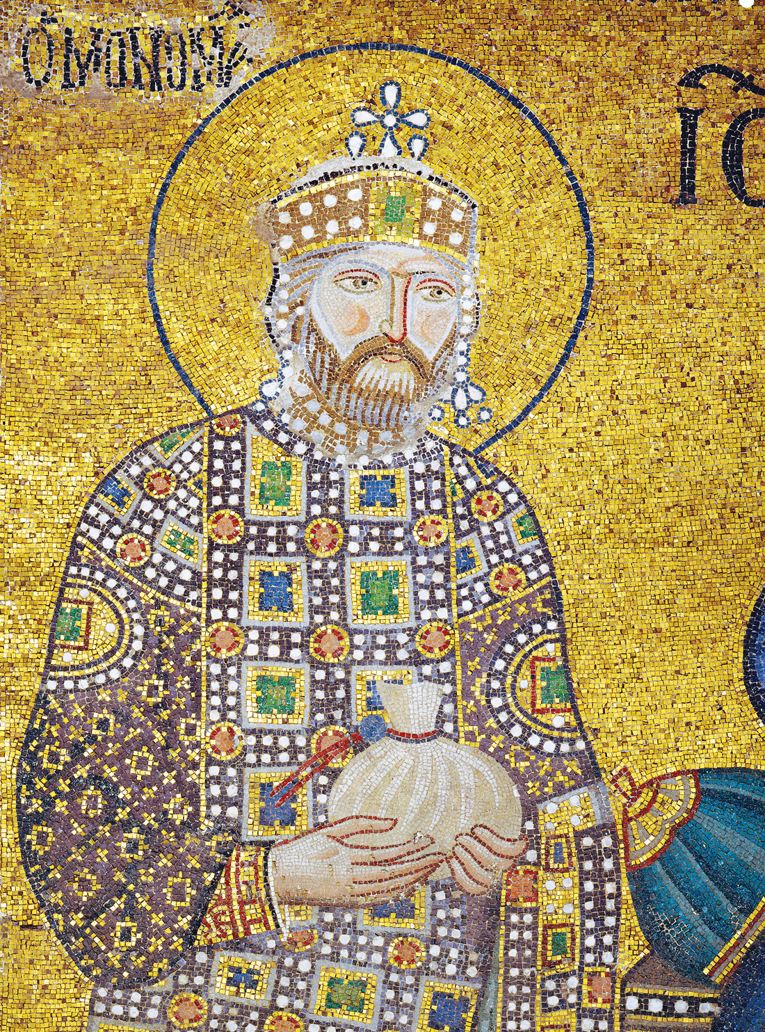 Byzantine emperor Constantine IX Monomachos holding a money-bag for the Church's endowment, eleventh century. Hagia Sophia, Istanbul, Turkey.