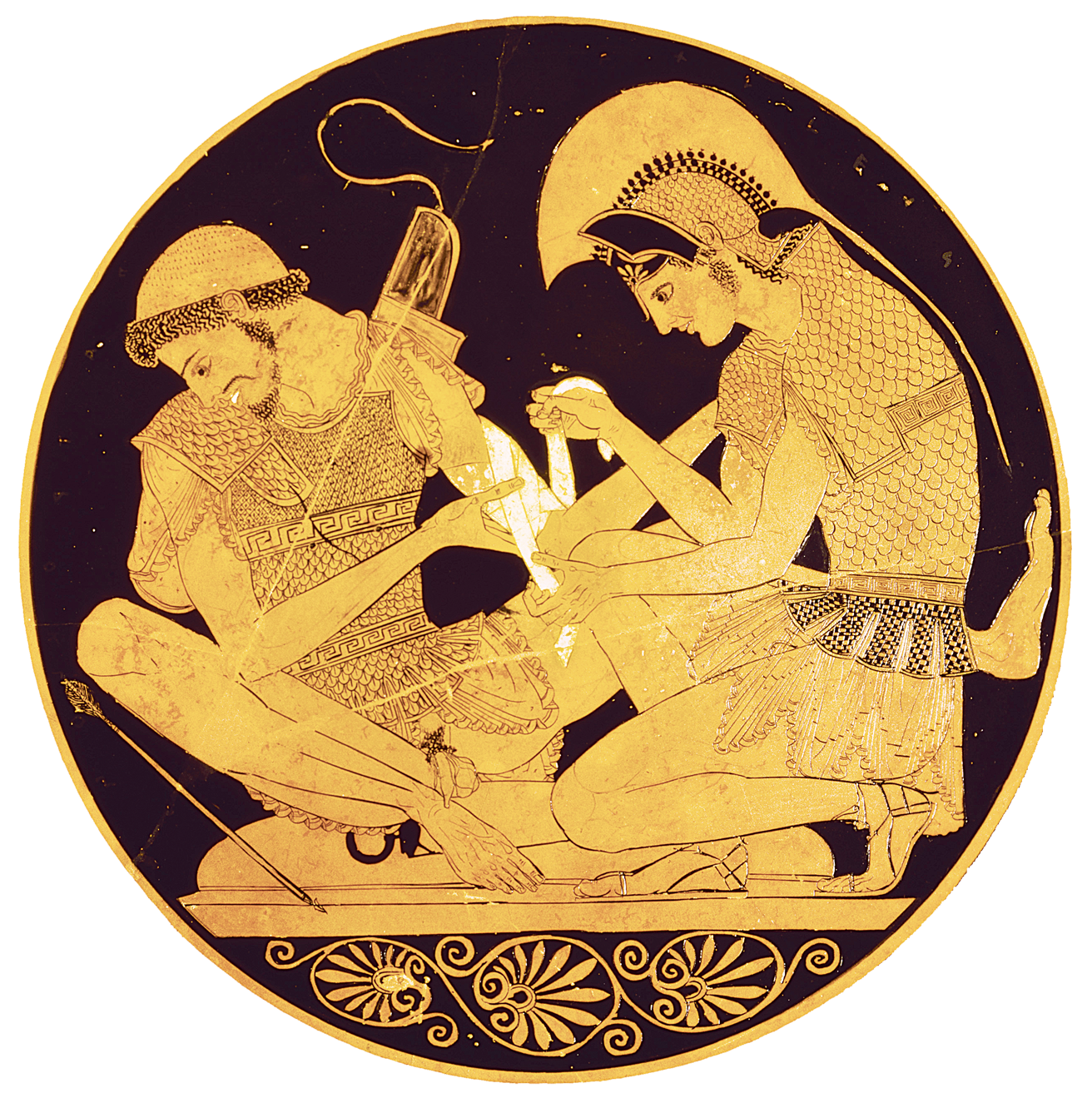 Achilles binding Patroclus' wounds, from a kylix by the Sosias Painter, c. 500 BC. Altes Museum, Berlin, Germany.