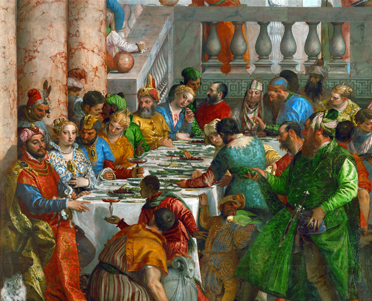 Sultan Süleyman I, Emperor Charles V, King Francis I, from Marriage at Cana (detail), by Paolo Veronese, c. 1562. Louvre Museum, France.
