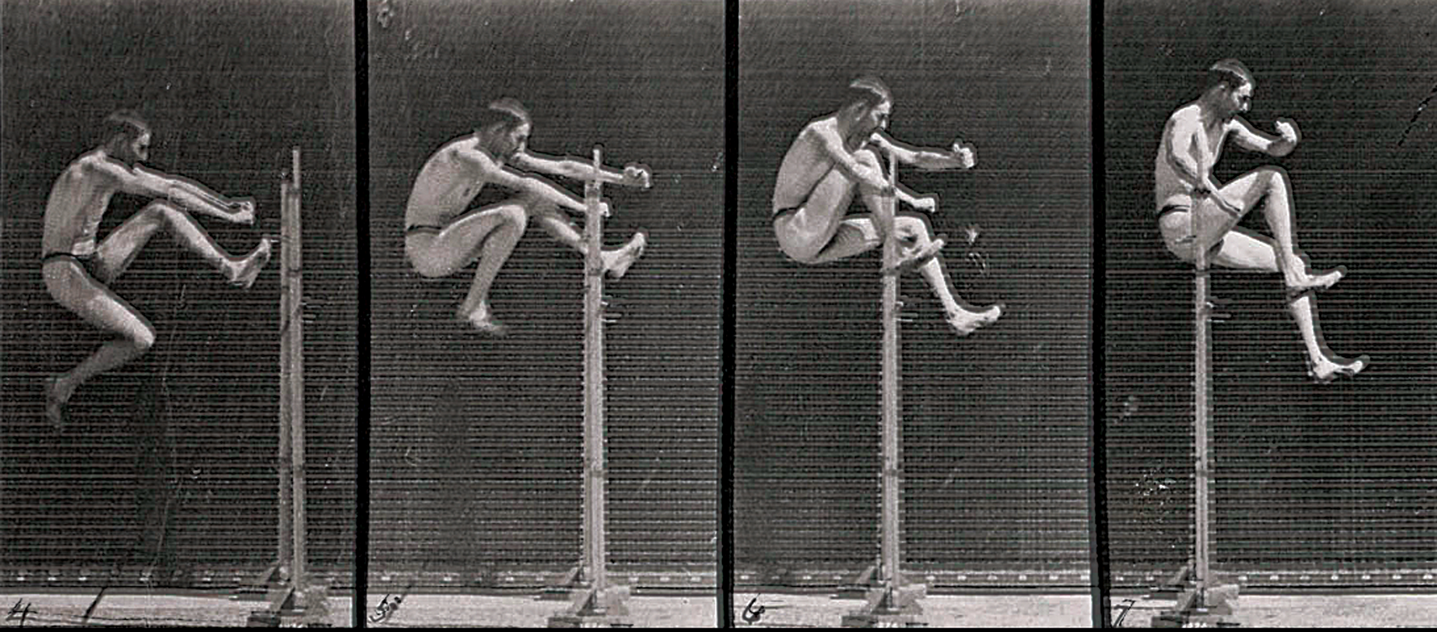Man jumping, time-lapse photographs from the Animal Locomotion series, by Eadweard Muybridge, c. 1885. The Wellcome Trust, London.