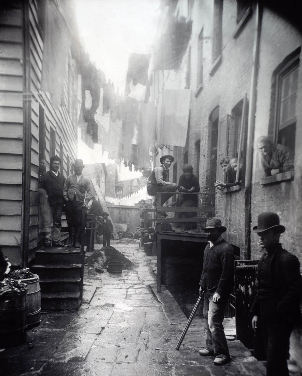 """Bandits' Roost, 59 1/2 Mulberry Street,"" 1888. Photograph by Jacob Riis."
