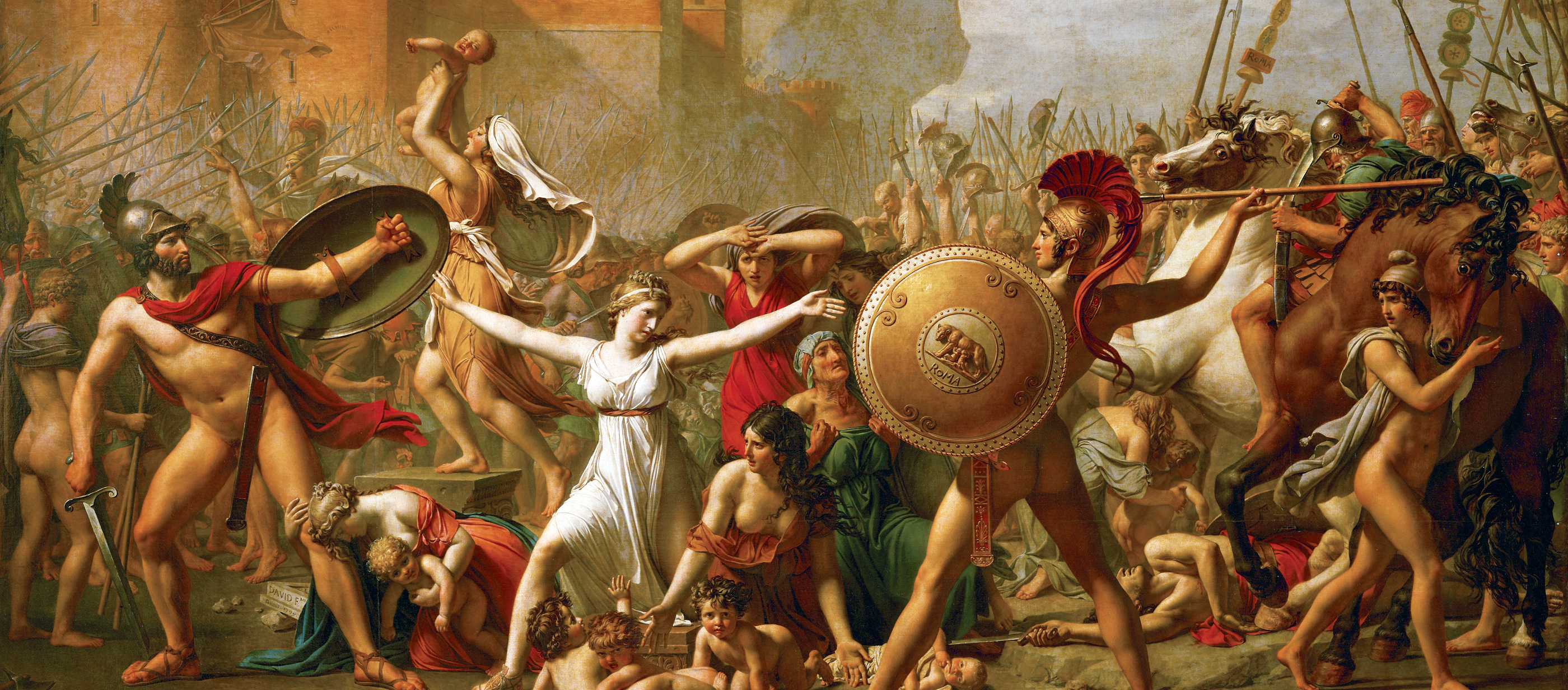 The Sabine Women Halting the Battle Between Romans and Sabines, by Jacques Louis David, 1799. Louvre Museum, Paris.