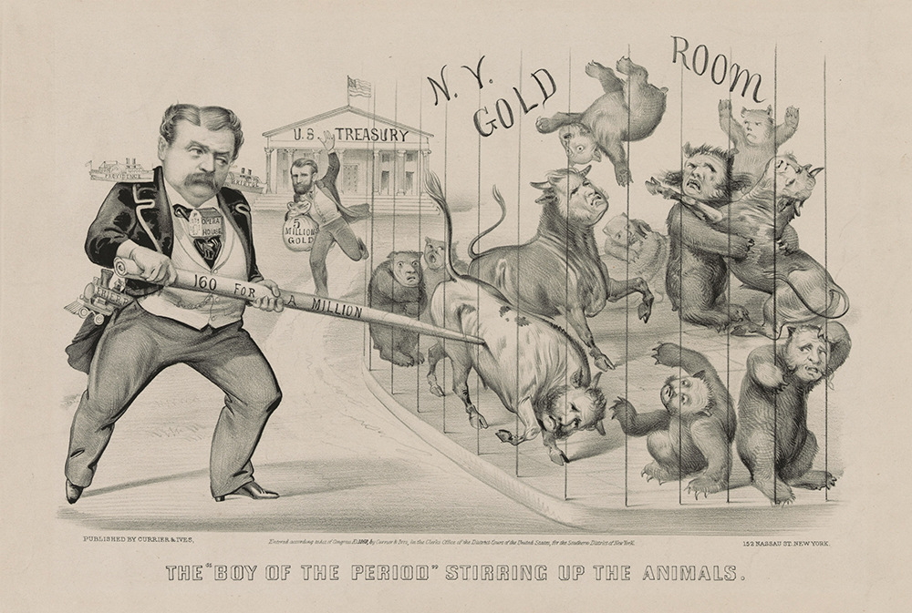 """The """"Boy of the Period"""" Stirring Up the Animals, by Currier & Ives, 1869. 152 © F&A Archive/Art Resource, NY."""