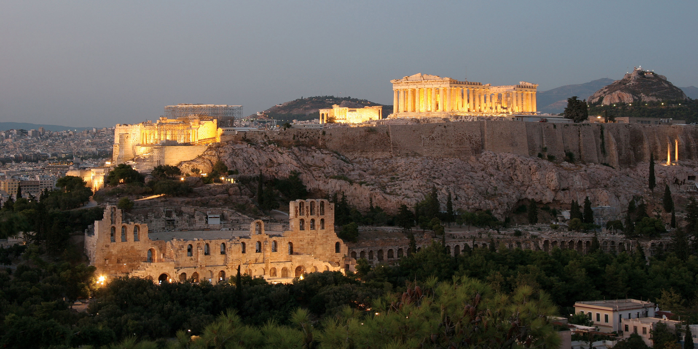View of the Acropolis at night, Athens, c. 2010.